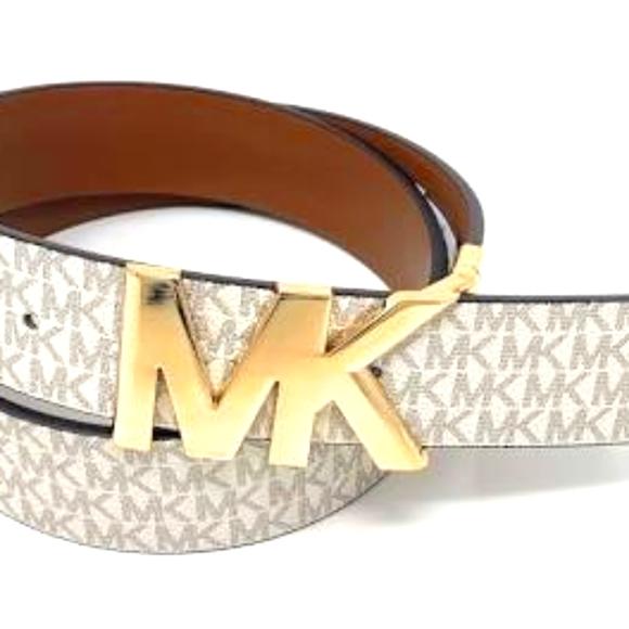 White Michael Kors Reversible Belt